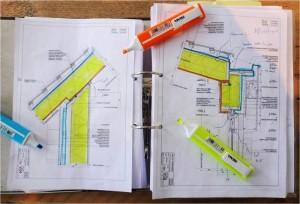 Tekenwerk controleren en aangeven waar isolatie, waterkering en luchtdichte laag zitten.